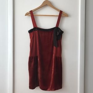 DKNY Burnt Orange Velvet Slip Dress